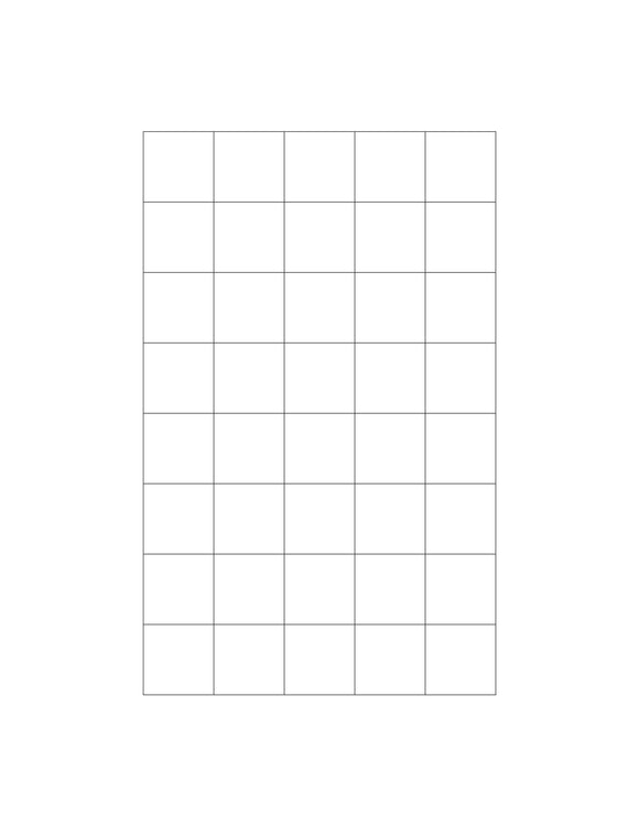 15/16 x 15/16 Square White Printed Label Sheet