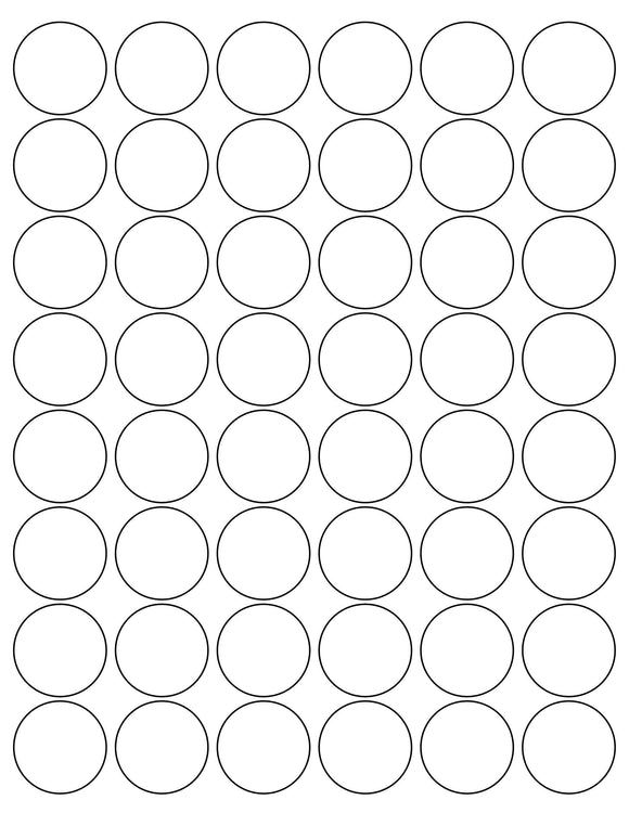 1 1/4 Diameter Round White High Gloss Printed Label Sheet