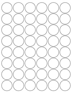 1 1/4 Diameter Round Removable White Printed Label Sheet
