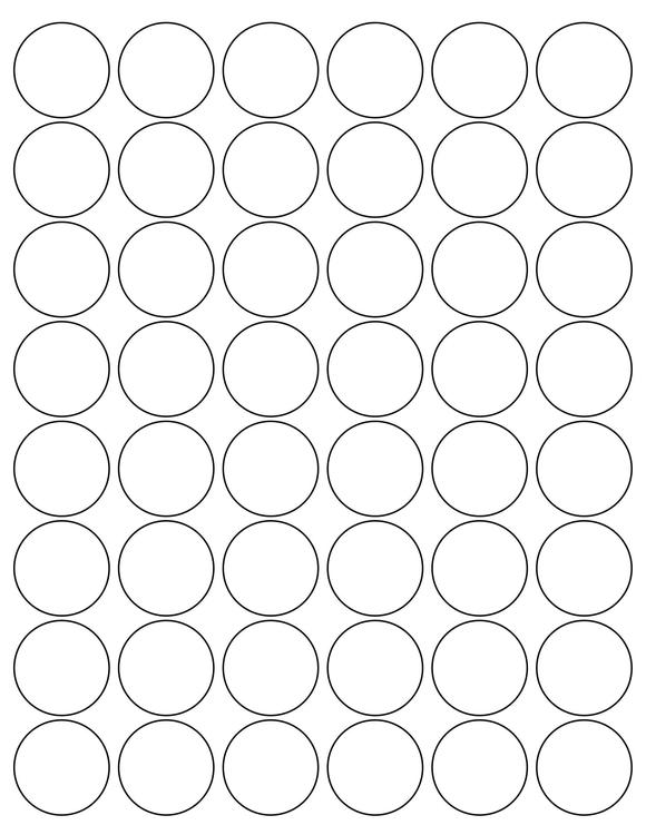 1 1/4 Diameter Round PREMIUM Water-Resistant White Inkjet Label Sheets (Pack of 250)