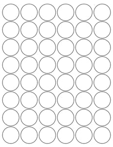 1 1/4 Diameter Round White Label Sheet