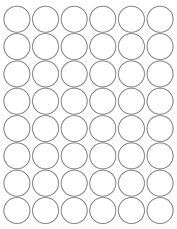 1 1/4 Diameter Round White Printed Label Sheet