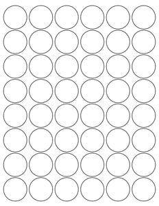 1 1/4 Diameter Round Water-Resistant White Polyester Laser Label Sheet