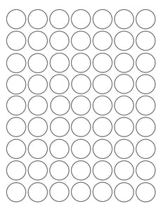 1 Diameter Round White Label Sheet