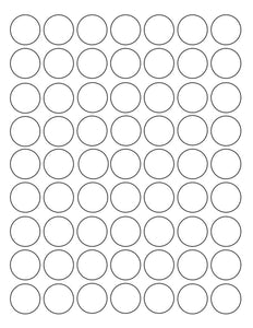 1 Diameter Round White High Gloss Laser Label Sheet