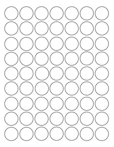 1 Diameter Round Recycled White Printed Label Sheet
