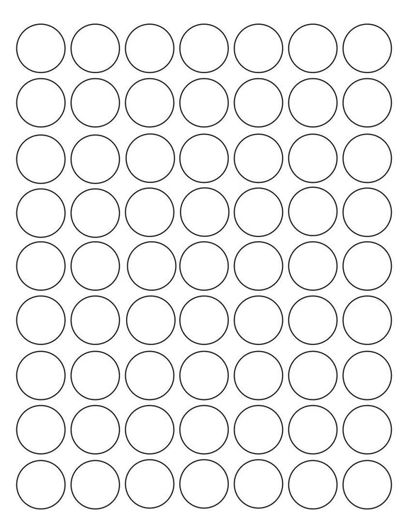 1 Diameter Round White High Gloss Printed Label Sheet