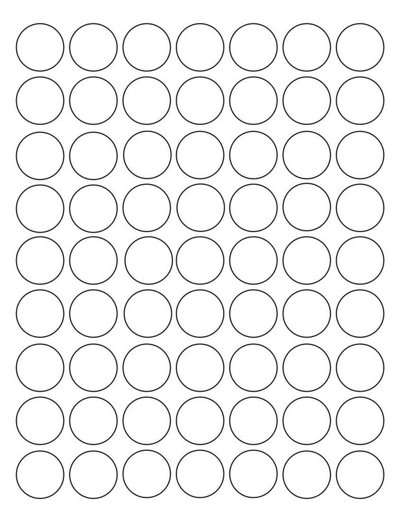 1 Diameter Round White Printed Label Sheet