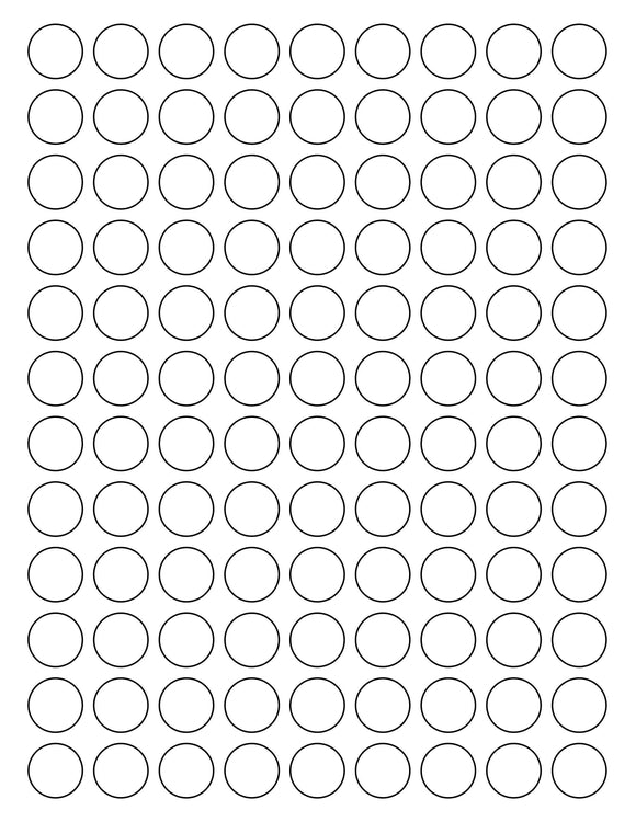 3/4 Diameter Round White Label Sheet
