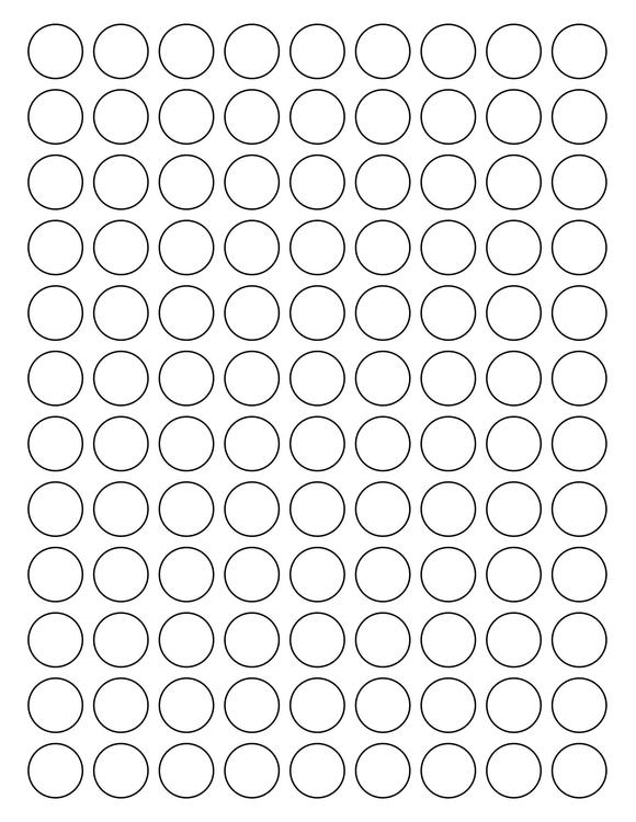 3/4 Diameter Round PREMIUM Water-Resistant White Inkjet Label Sheets (Pack of 250)