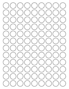 3/4 Diameter Round Removable White Printed Label Sheet