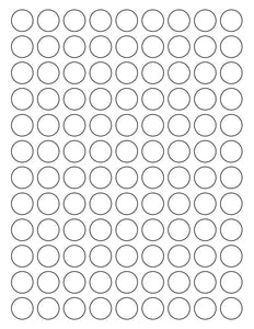 3/4 Diameter Round White High Gloss Laser Label Sheet