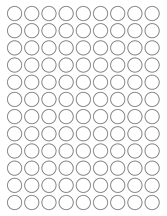 3/4 Diameter Round White Opaque BLOCKOUT Printed Label Sheet