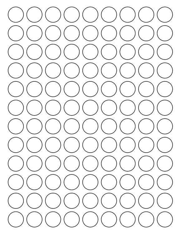 3/4 Diameter Round Pastel Label Sheet