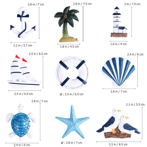 Nautical 10Pcs Ornaments Boat Ship Turtle Sea Star Shell for Home Wall Decor