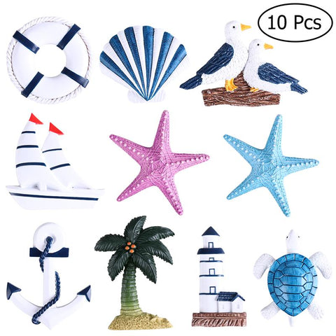 Nautical Beach Boat Ship Turtle Sea Star Shell 10Pcs Hanging Ornaments Anchor Home Wall Decor