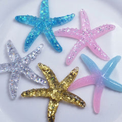 10pcs Resin Adorable Glitter Colorful Starfish Shell For Home Wedding Decor Crafts Making