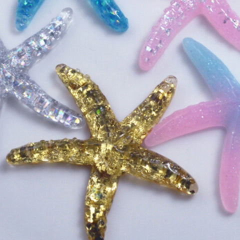 Resin Adorable 10pcs Glitter Colorful Starfish Shell For Home Party Wedding Decor