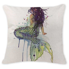 Mermaid Cushion Cover Ocean Mermaid Pillowcases Cotton Linen Lounger For the Beach style decor