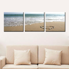 3 PCS LANDSCAPE 3D PHOTO CANVAS FOR WALL DECORATION Romantic Beach Stone Home Decor