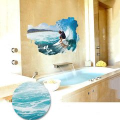 Large 3D Wall Stickers Home Decor 60*90cm Sea Wave Ocean Mural Nautical Adesive Decals