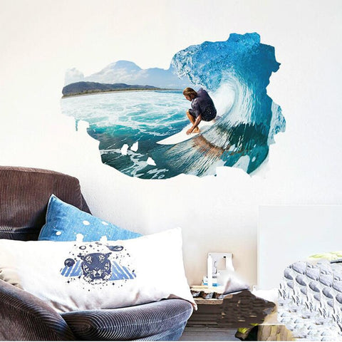 Large 3D Wall Stickers Home Decor 60*90cm Sea Wave Ocean Mural Nautical Adesive De Pared Decals