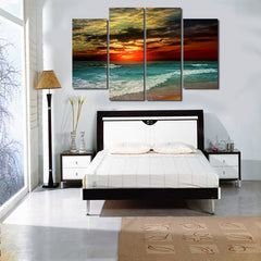 4 Piece Canvas Beach Sunset  Unframed Landscape Wall 3D Home Decor