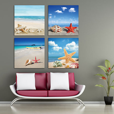 4 Piece Sea Beach Shell Starfish Canvas Wall Home Decor