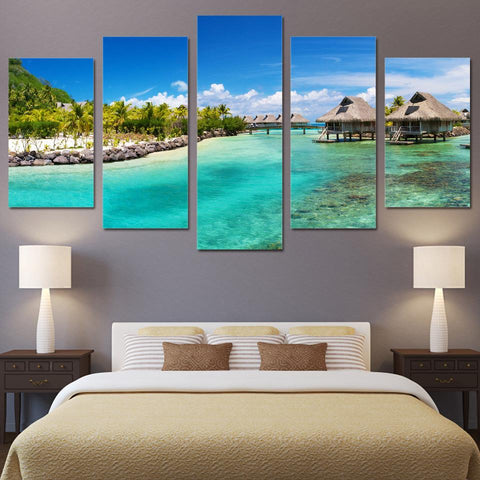 5PCS LANDSCAPE 3D PHOTO CANVAS FOR WALL HOME DECORATION BEACH MOOD