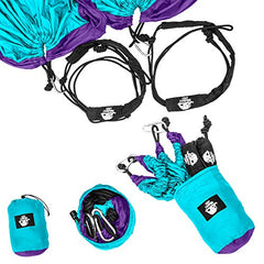 Camping Double Hammock - Lightweight Parachute Portable Hammocks for Hiking, Travel, Backpacking, Beach, Yard Gear Includes Nylon Straps & Steel Carabiners (Violet/Turquoise)