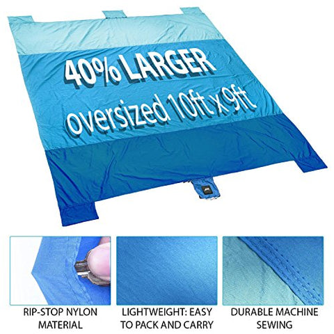 Chillax Free Beach Blanket Huge Best Mat for Picnic, Camping, Hiking and Music Festivals (Blue)