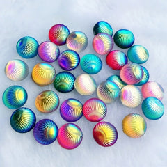 80pcs Shell Party decoration pattern, Mixed Color round eyes rhinestone cutting resin diamond set