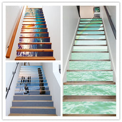 6pcs/Set PVC Beach Style 3D Stairway Fake Bookshelf Stairs Stickers Floor Wall Decor Decals Stickers