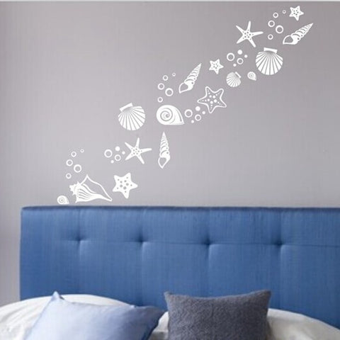 Beach Themed Room Decor Stickers- Set of 30 Fancy Vinyl Sea Beach Shell Wall Decals