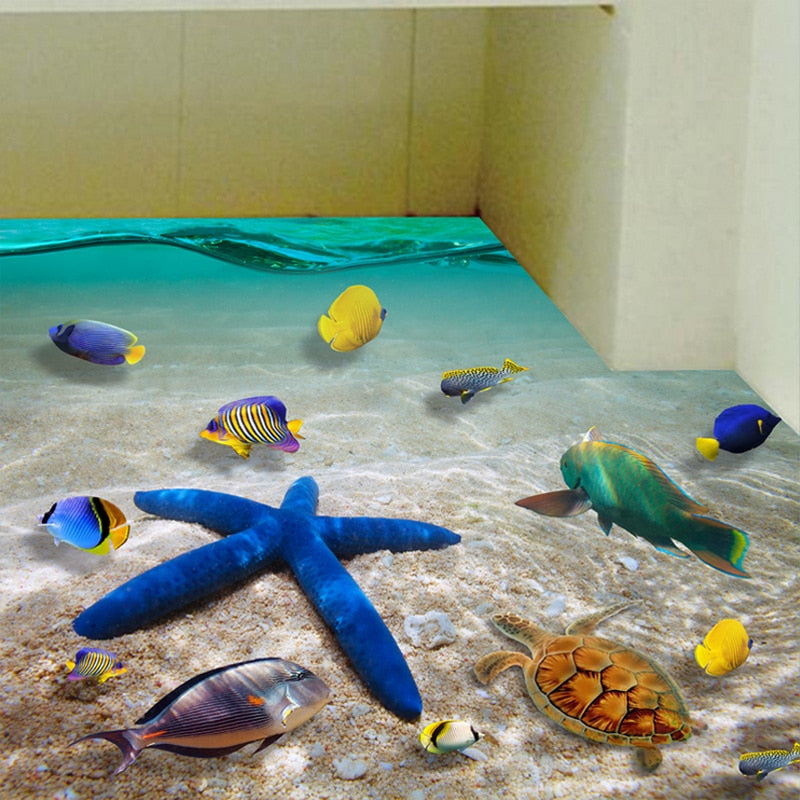 3D Floor Sticker Colorful Fishes Sea Mural Beautiful Seabed Starfish Wall Rooms Decor Poster