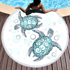 Microfiber Round Beach Turtles Towel Large Bath Mat with Tassel 150cm