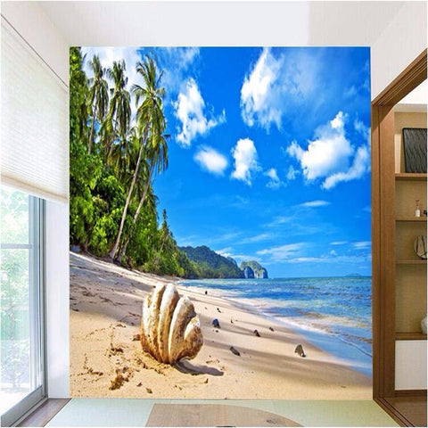 Beautiful 3D Wallpaper Fantastic View to Feel like on Beachside Home Room Decor