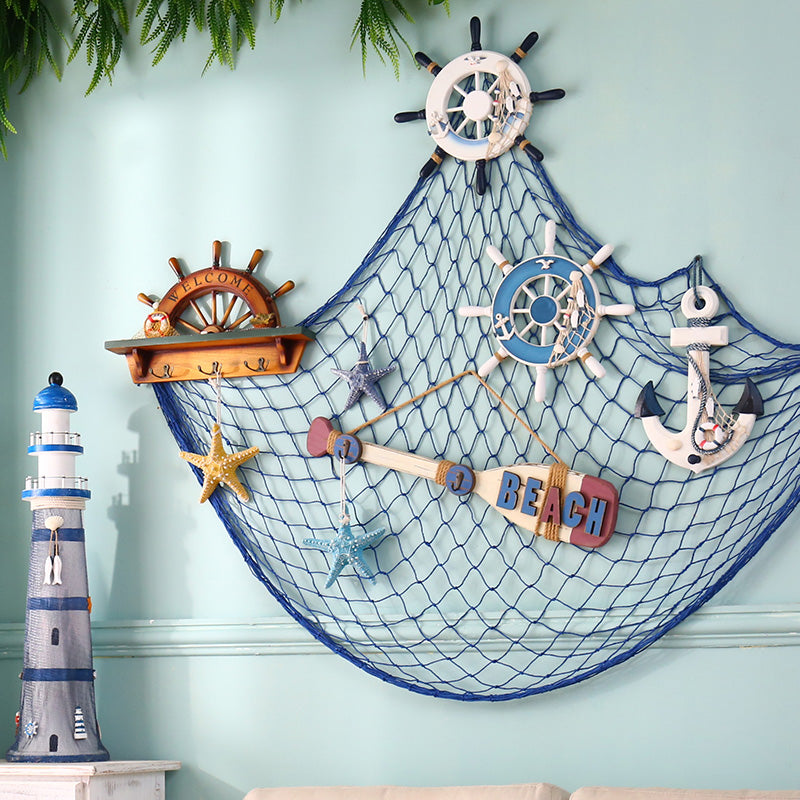 Odn Home The Mediterranean Sea Style Wall Stickers Big Fishing Net Decoration Hangings Blue Kitchen Accessories