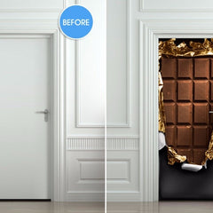 Door Sticker Chocolate Art Picture 3D Wall Murals Wallpaper Decals Home Decoration
