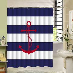 Nautical Stripe Shower Curtain 10 Designs of Anchor Waterproof Bath Curtain with Rings