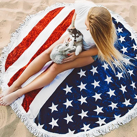 21 Designs of Beach Towel Microfiber Round Wall Hanging Bath Towel Yoga Mat Shawl