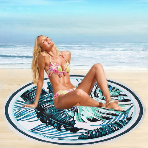 Round Beach Cotton Mat Large Bath Towel or Yoga Summer Swimming Shawl