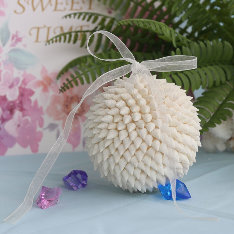 White Millet Snail Bouquet Ornament Natural Shell&Conch Beach Wedding Handmade Home Decor