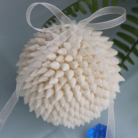 White Millet Snail Christmas Tree  Ornament Bouquet Natural Shell&Conch Beach Wedding Decor Handmade Coastal Home Decor