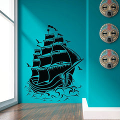 Retro PIRATE SHIP SAIL BOAT VINYL Wall Decal NAUTICAL SEA Wall Art OCEAN  2 Sizes Sticker