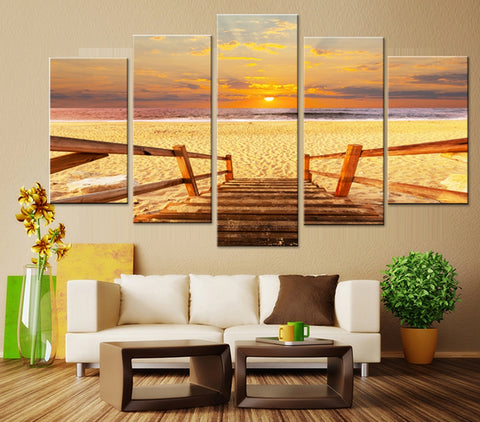 5 Pieces Beach Sunset Walk Way Canvas Wall Home Decor