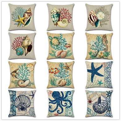 Marine Style Beach Pillow Case