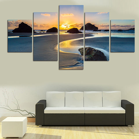 5 Pieces Beach Reef Sunset Landscape Canvas Wall Decor