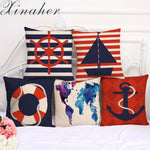 Nautical Marine Linen Pillow 5 Styles Cushion Cover Home Decoration