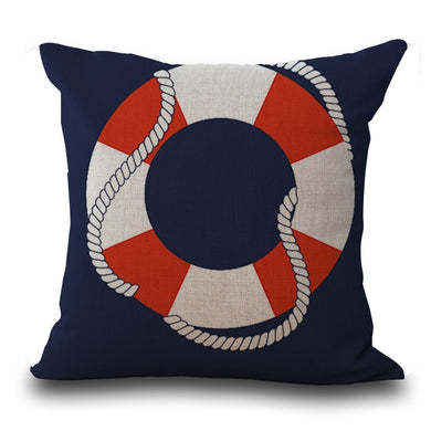Nautical Shell Starfish Linen Pillow Marine Cushion Cover Home Decoration Pillowcase